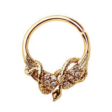 WILDKLASS Gold Plated Jeweled Wings and Snake Seamless Ring/Septum Ring-WildKlass Jewelry