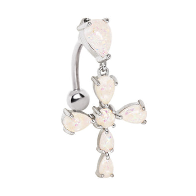 316L Stainless Steel White Synthetic Opal Cross Top Down WildKlass Navel Ring-WildKlass Jewelry