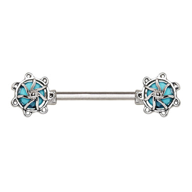 316L Surgical Steel Turquoise Stone Carousel WildKlass Nipple Bar-WildKlass Jewelry