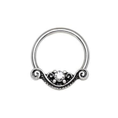 316L Stainless Steel Ornate Design Snap-in WildKlass Captive Bead Ring / Septum Ring-WildKlass Jewelry