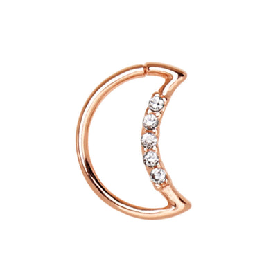 Annealed Rose Gold Plated Jeweled Crescent Moon WildKlass Cartilage Earring-WildKlass Jewelry