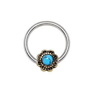 316L Stainless Steel Turquoise Flower Snap-in WildKlass Captive Bead Ring / Septum Ring-WildKlass Jewelry