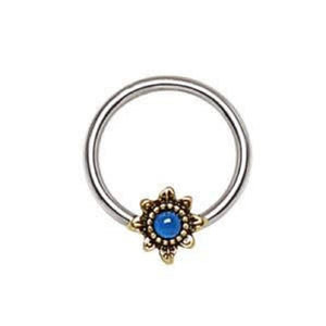 316L Stainless Steel Blue Star Snap-in WildKlass Captive Bead Ring / Septum Ring-WildKlass Jewelry