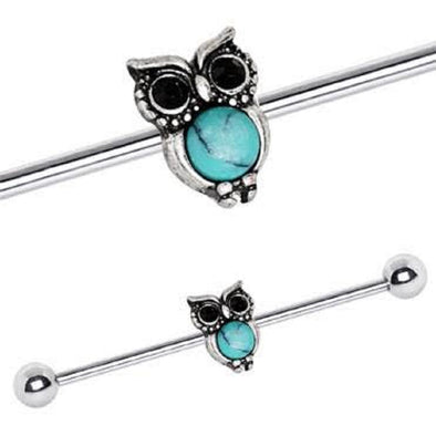 316L Stainless Steel Turquoise Owl WildKlass Industrial Barbell-WildKlass Jewelry