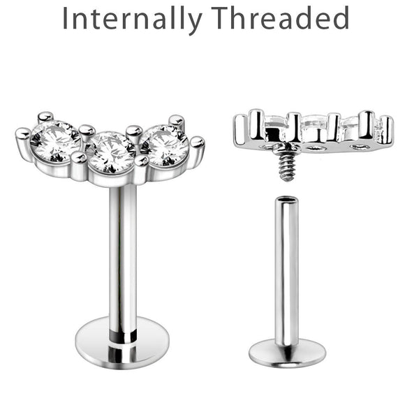 WILDKLASS Internally Threaded 316L Stainless Steel Curved Triple Prong Set CZ Labret-WildKlass Jewelry