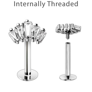 WildKlass Internally Threaded 316L Stainless Steel Curved Prong Set Baguette CZ Labret-WildKlass Jewelry