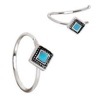 316L Stainless Steel Rhombus Cut Turquoise Nose Hoop / Cartilage Earring-WildKlass Jewelry