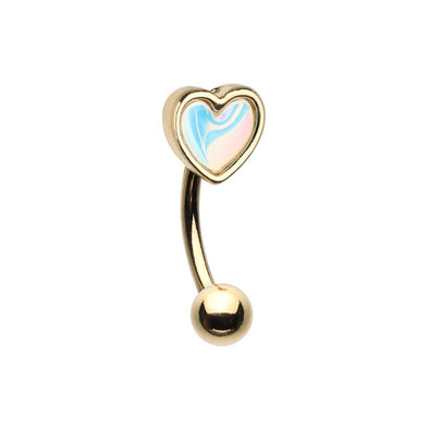 Golden Heart Illuminating Moonstone WildKlass Curved Barbell Eyebrow Ring-WildKlass Jewelry