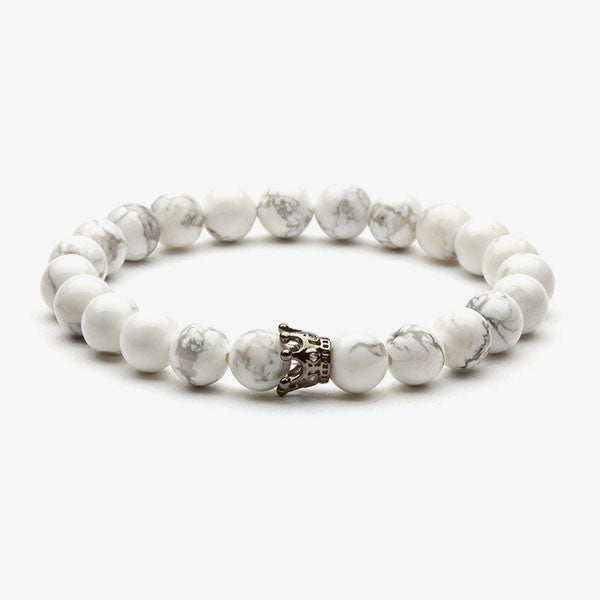Crown Charm Bracelet // Silver + Snow White