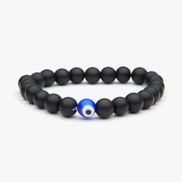 Matte Onyx Greek Eye // Silver + Blue