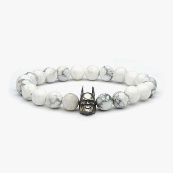 Natural Stone Dark Knight Charm // White + Rhodium
