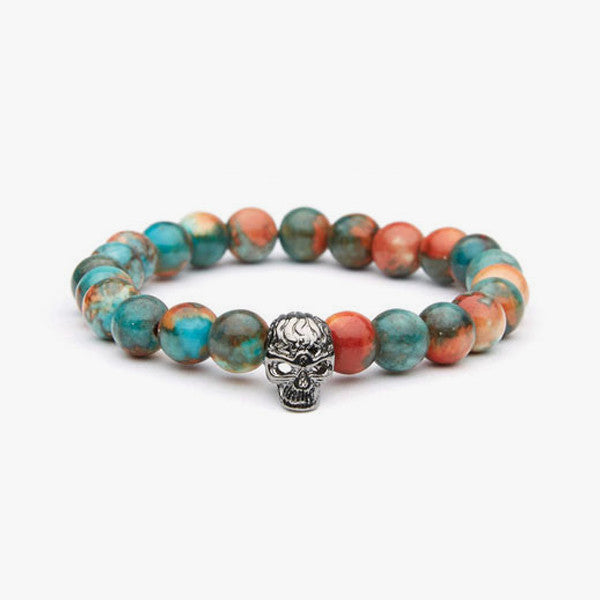 Natural Stone With Skull Charm // Teal + Red + Silver