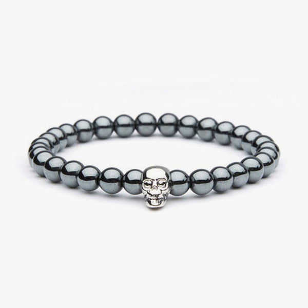 Rhodium Bead With Skull // Rhodium + Silver