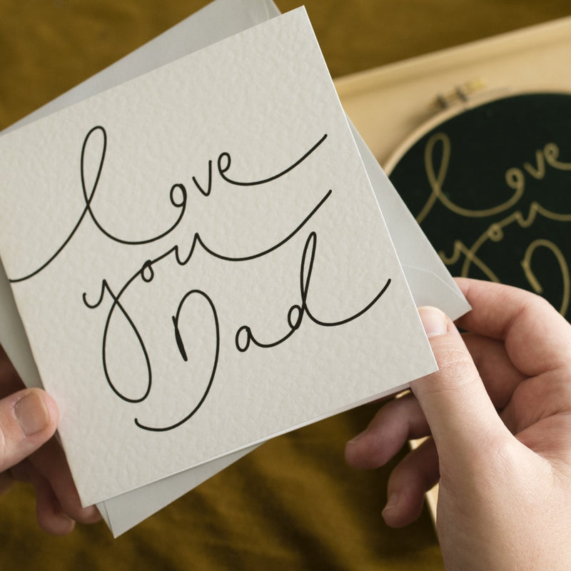 'Love You Dad' Simple Hand Lettered Mother's Day Card