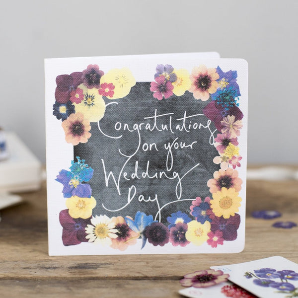 'Congratulations On Your Wedding Day' Hand Lettering Floral Chalkboard Card