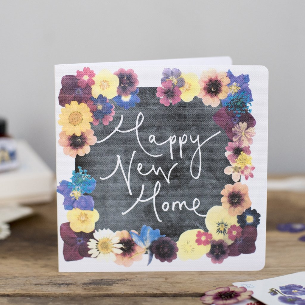 'Happy New Home' Hand Lettering Floral Chalkboard Card