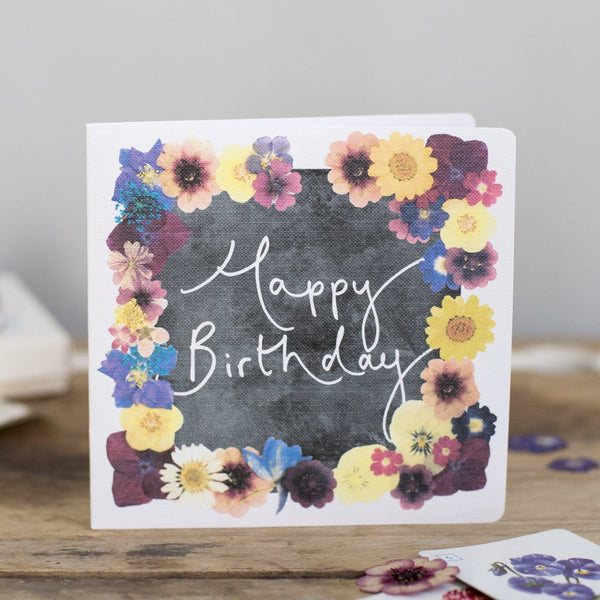 'Happy Birthday' Hand Lettering Floral Chalkboard Card