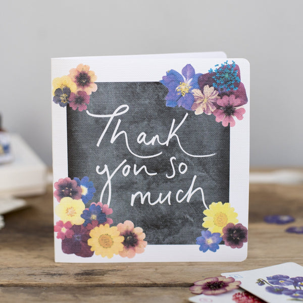 'Thank You So Much' Hand Lettering Floral Chalkboard Card