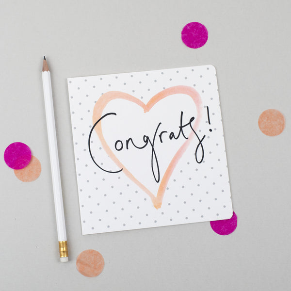 'Congrats!' Hand Lettering Polka Dot Heart Card