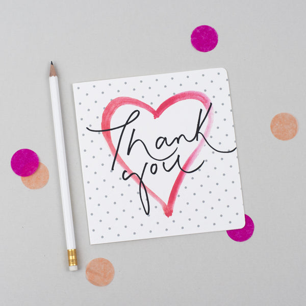 'Thank You' Hand Lettering Polka Dot Heart Card