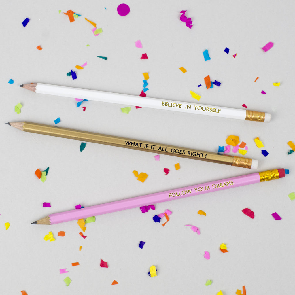 Follow Your Dreams / Believe In Yourself / What If It All Goes Right? - Pack of 3 Jolly Good Pencils