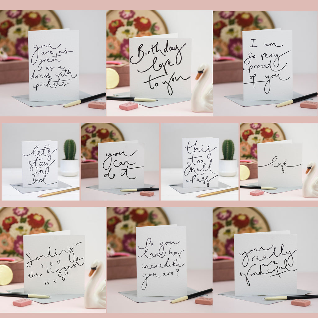 Hand Lettered Cards - Set of 10 Minimal Cards