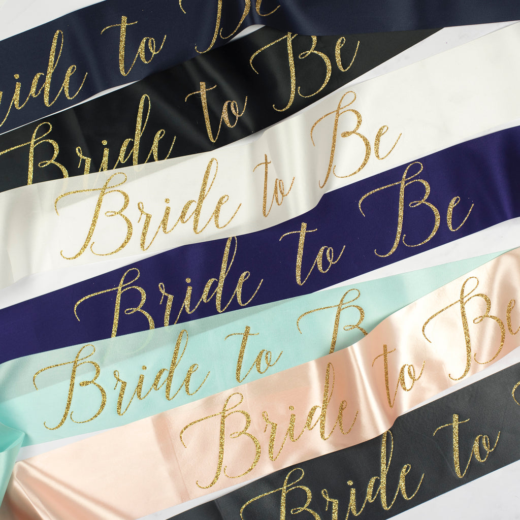Personalised Surname Rose Gold Glitter Ribbon Hen Party Sash