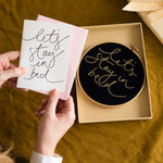'Let's Stay in Bed' Card + Hoop Letterbox Gift Set