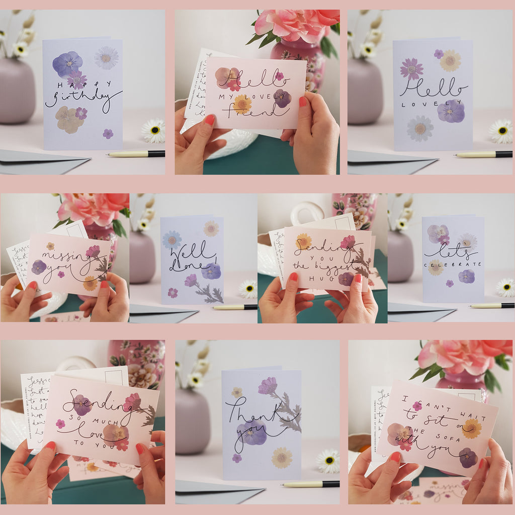 Pressed Flower Collection - Set of 10 General Cards + Postcards