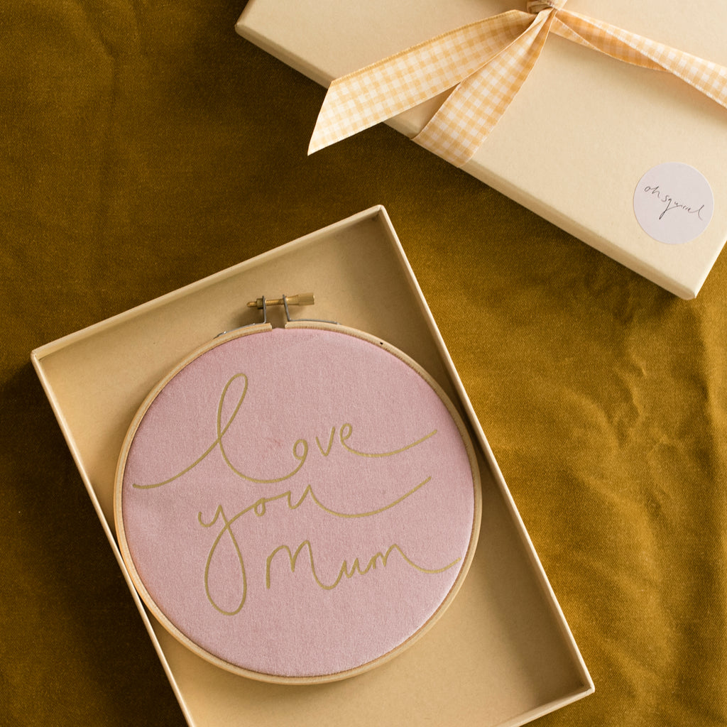 'Love you mum' Card + Hoop Letterbox Gift Set