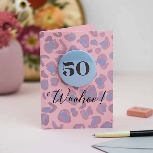 Any Age Pink + Blue Print Badge Birthday Card