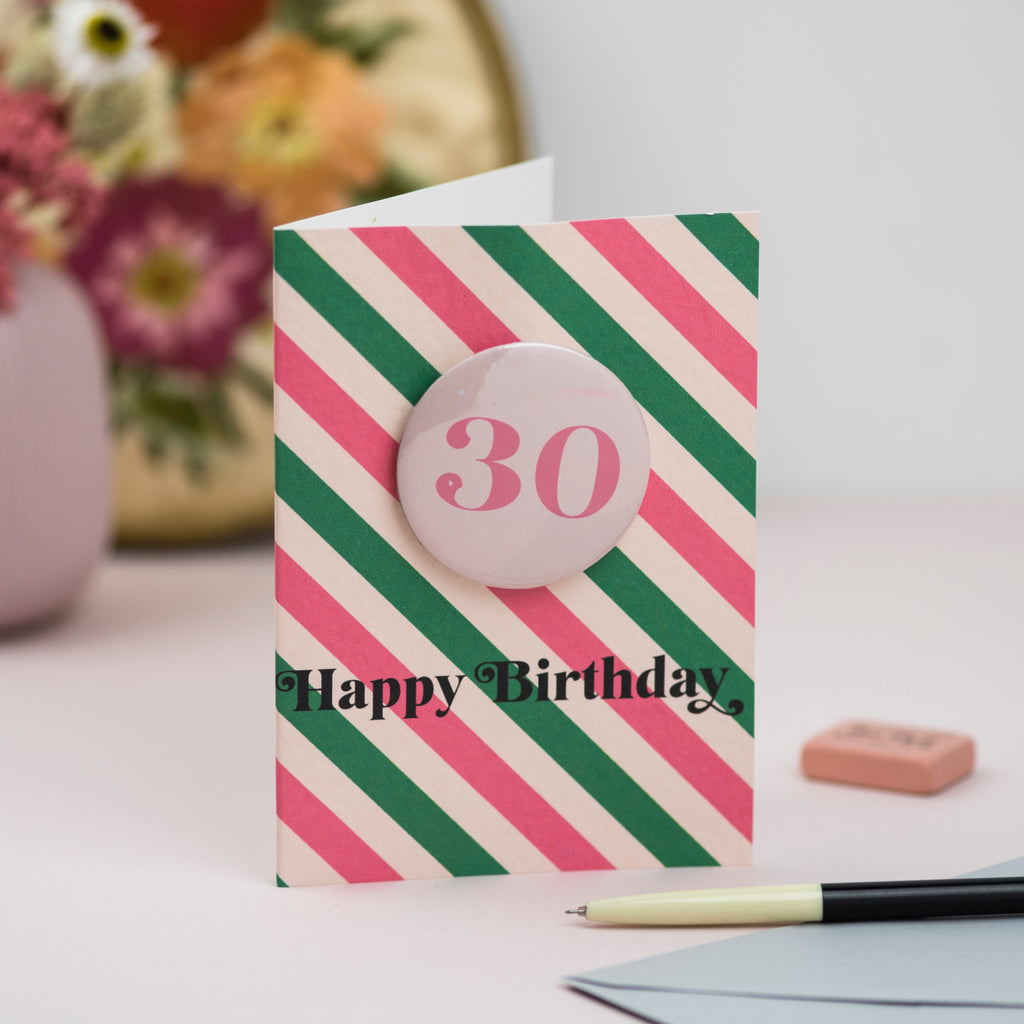 Any Age Pink + Green Retro Stripe Badge Birthday Card
