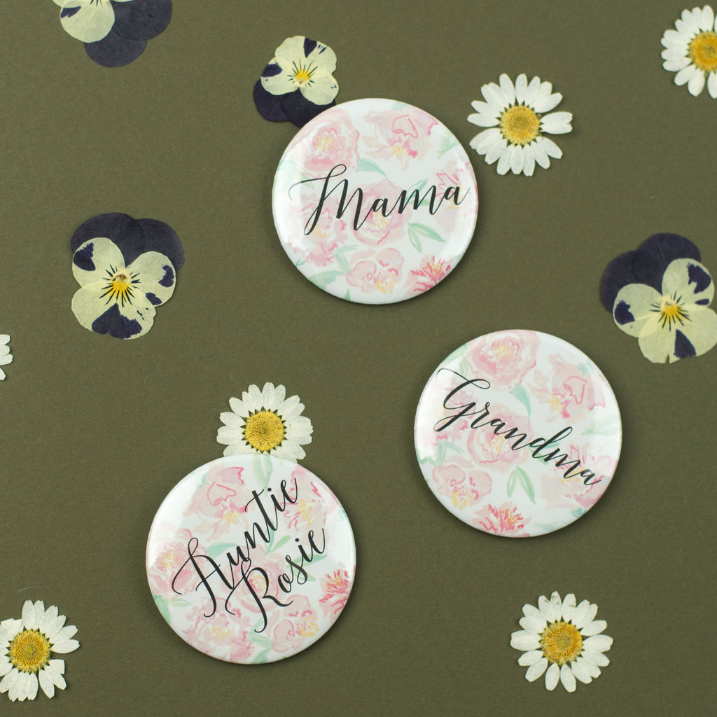 Personalised Peony Baby Shower Badges
