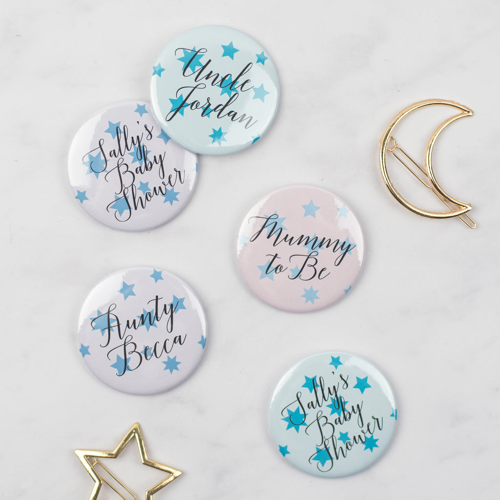 Star Print Pastels Personalised Baby Shower Badges