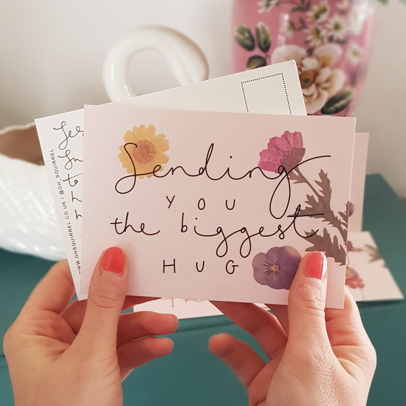 'Sending You The Biggest Hug' Hand Lettered Postcard