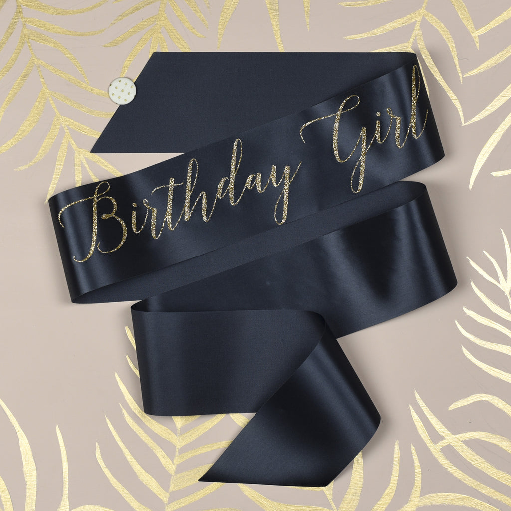 'Birthday Girl' Glitter Print Ribbon Birthday Sash