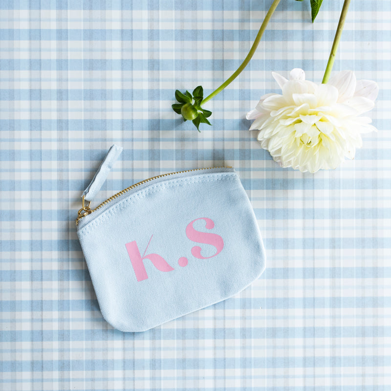 Personalised Monogram Blue Mini Pouch