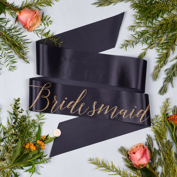 'Bridesmaid' Gold Glitter Print Script Ribbon Hen Party Sash - other wording options available