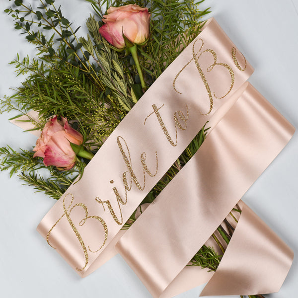 'Bride to Be' Glitter Print Script Ribbon Sash