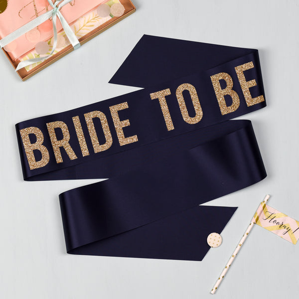 'Bride to Be' Bold Lettering - Gold Glitter Print Ribbon Hen Party Sash