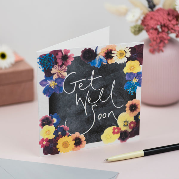 'Get Well Soon' Hand Lettering Floral Chalkboard Card