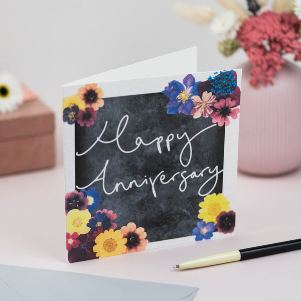 'Happy Anniversary' Hand Lettering Floral Chalkboard Card