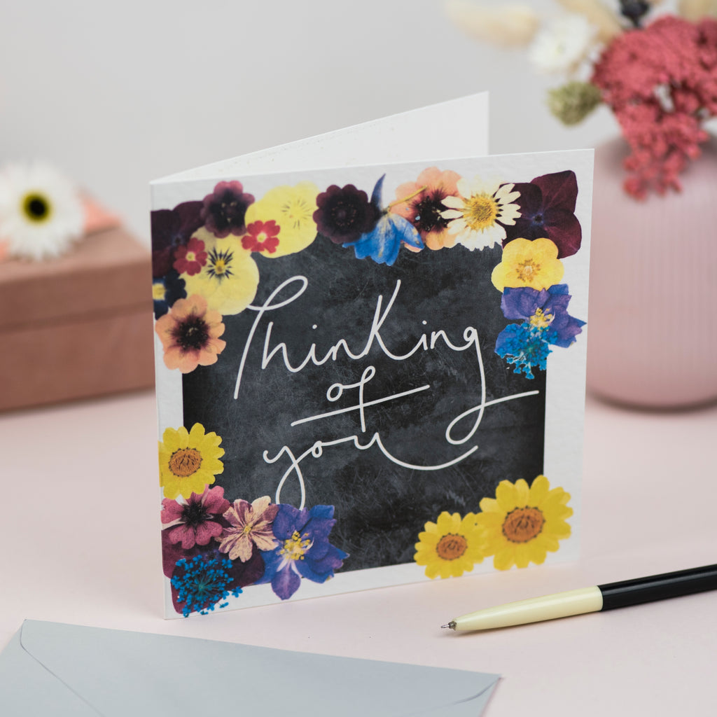 'Thinking of You' Hand Lettering Floral Chalkboard Card
