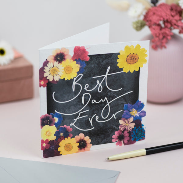 'Best Day Ever' Hand Lettering Floral Chalkboard Card
