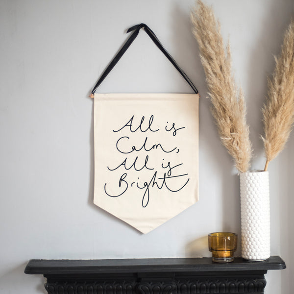 'All is Calm, All is Bright' - Velvet Flock Printed Christmas Banner
