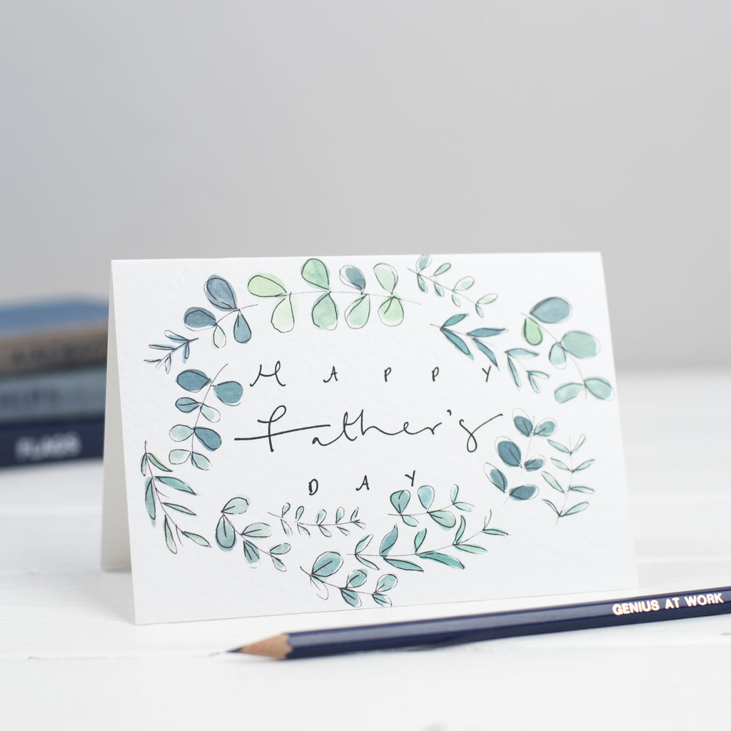 'Happy Father's Day' Botanical Border Hand Lettered Card