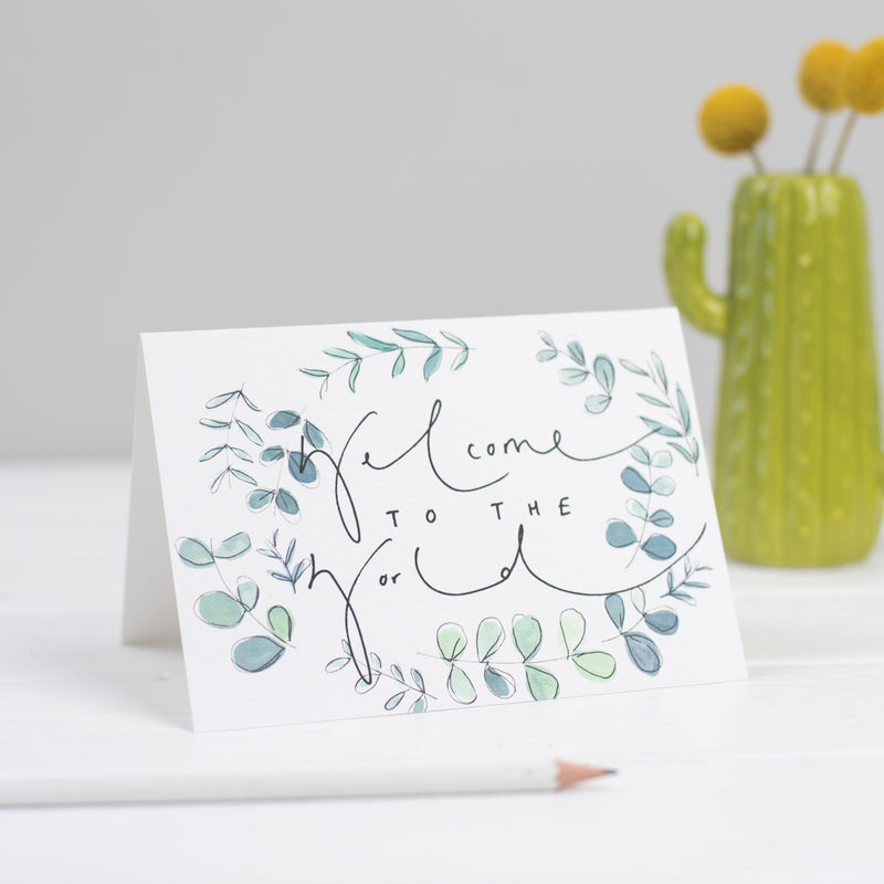 'Welcome To The World' Botanical New Baby Card