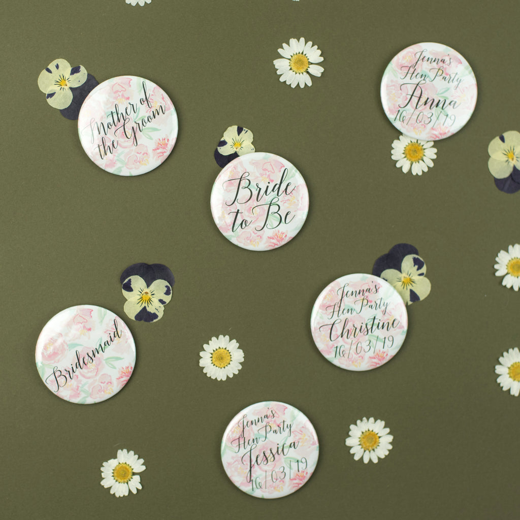 Personalised Peony Hen Party Badges