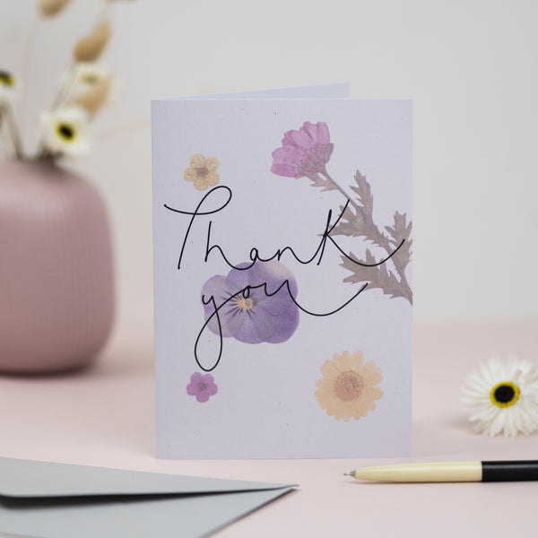 'Thank You' Pressed Flower Artwork Greetings Card
