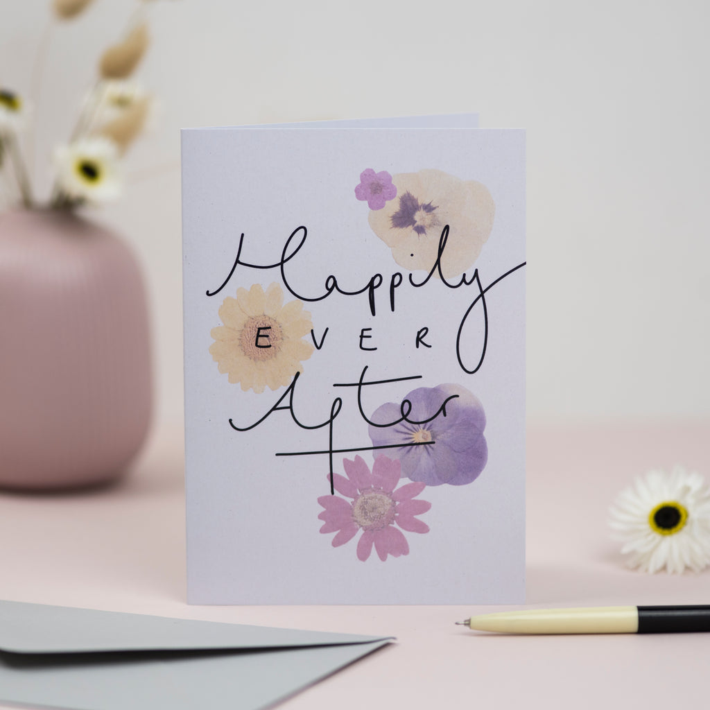 'Happily Ever After' Pressed Flower Artwork Greetings Card